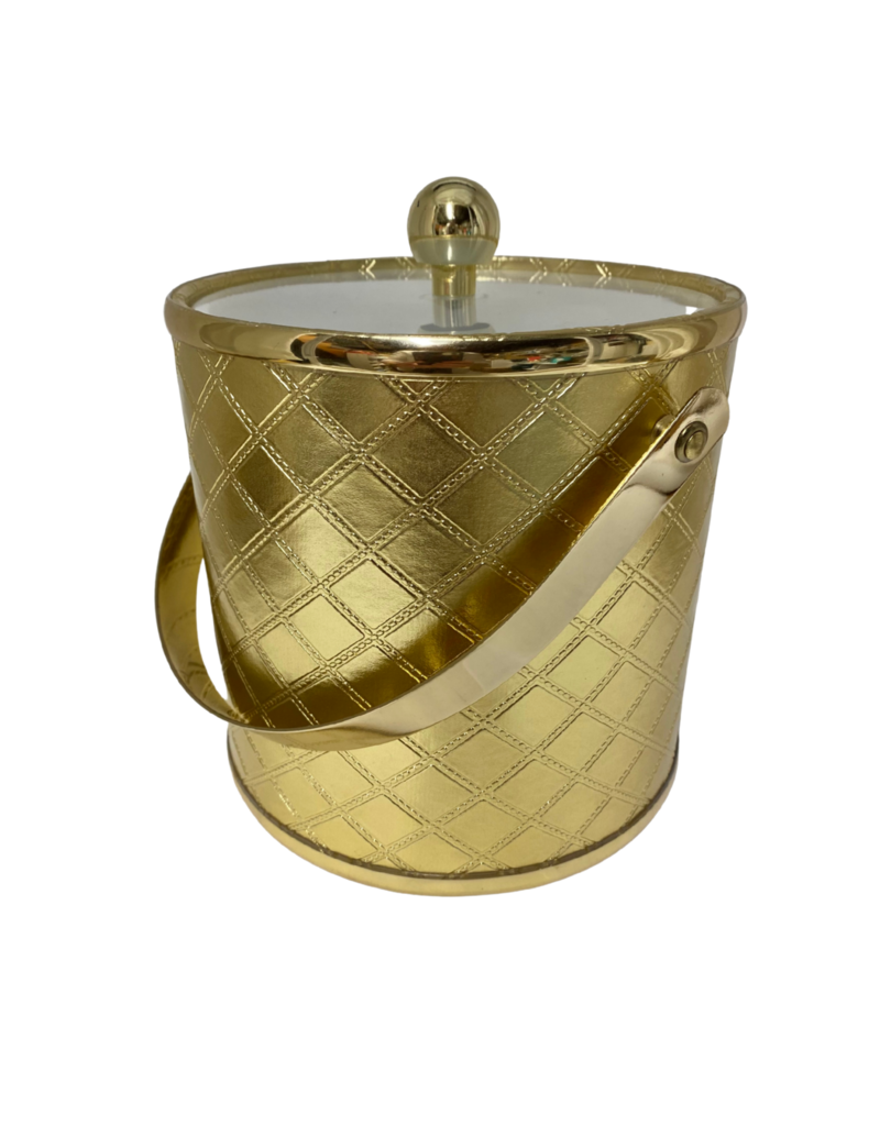 Vintage Gold Quilted Ice Bucket