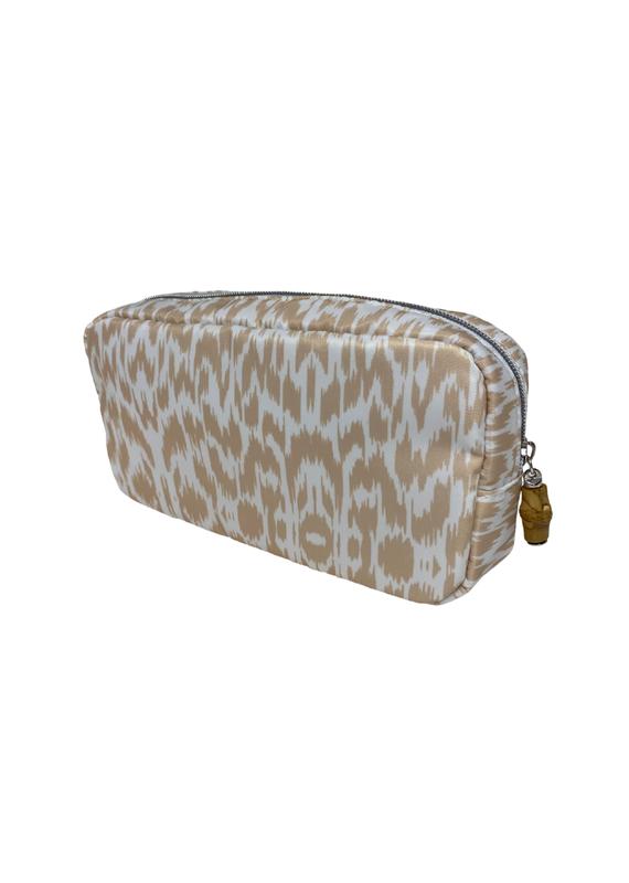 Tan Ikat Cosmetic Bag