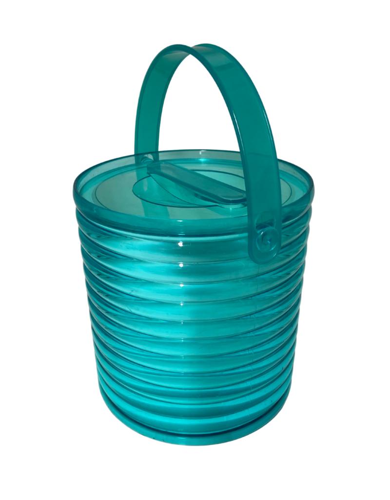 Vintage Green Ribbed Ice Bucket