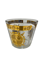 Vintage Glass Ice Bucket with Gold Emblem