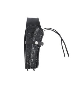 "Hand-Tooled Leather Holster 6"" Black - Left Hand"
