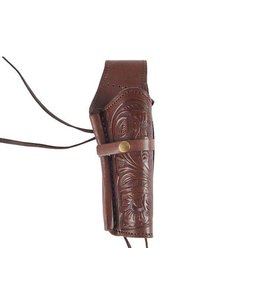 "Hand-Tooled Leather Holster 6"" Chocolate - Right Hand"