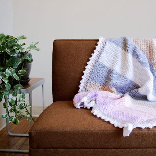 River Colors Studio Sweet Stripes Tunisian Baby Blanket