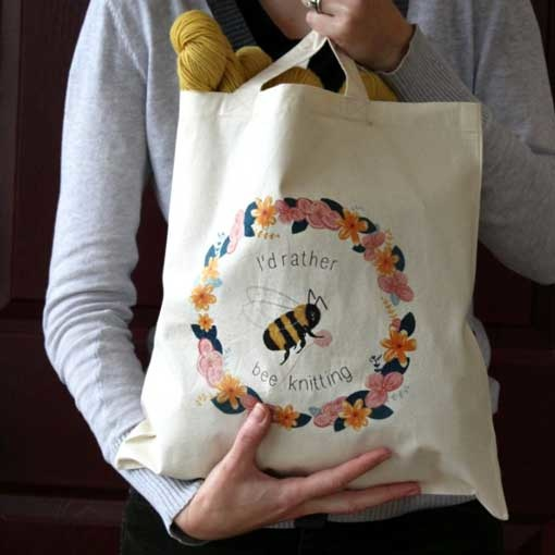 NNK Press I'd Rather Bee Knitting Tote
