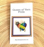 Channypeascorner Queen of Yarn PRIDE Crochet Enamel Pin