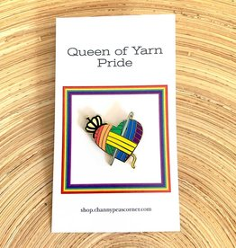 Channypeascorner Queen of Yarn PRIDE Crochet Enamel Pin