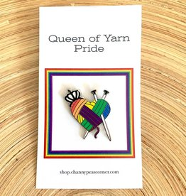 Channypeascorner Queen of Yarn PRIDE Knit Enamel Pin