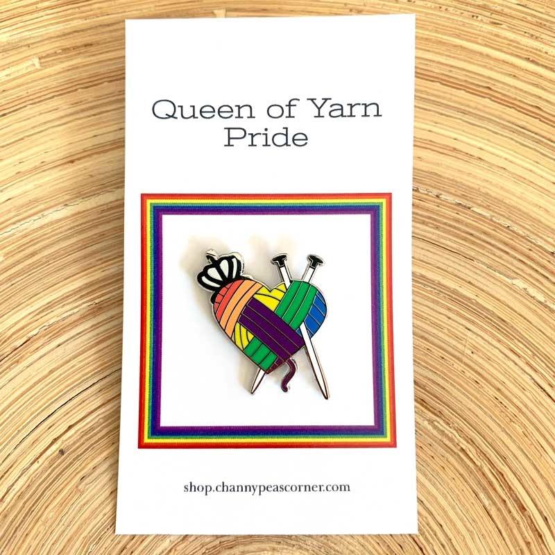 Channypeascorner Queen of Yarn PRIDE Knit Enamel Pin