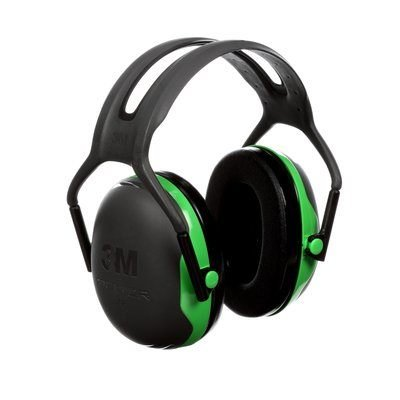 3M Peltor Over the Head Earmuffs X1A, Black/Green
