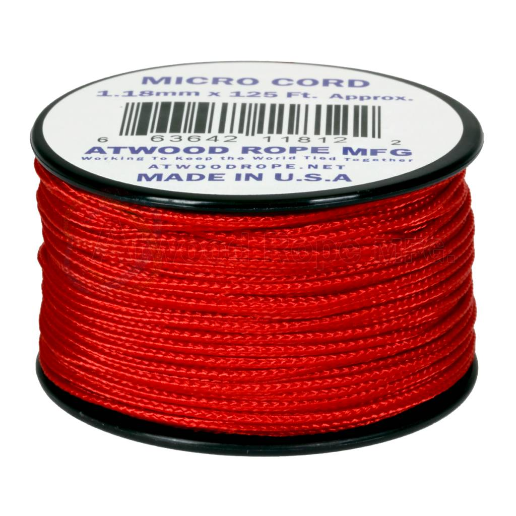 Atwood Rope MFG Atwood Rope Micro Cord 1.18mm x 125' Red