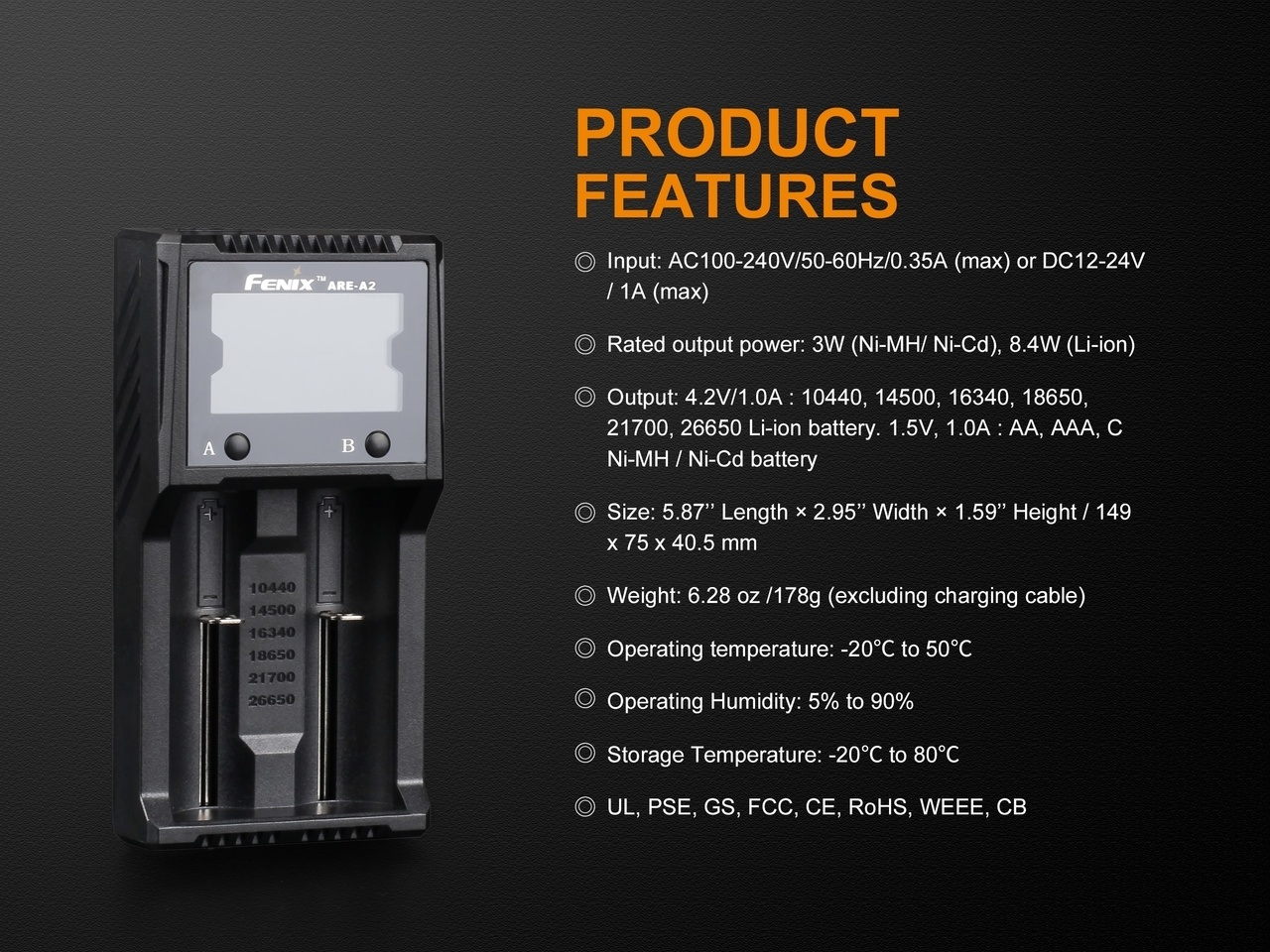 Fenix Fenix ARE-A2 Dual Channel Battery Smart Charger