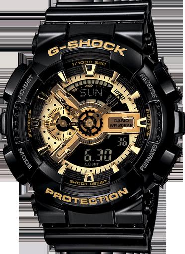 G-Shock G-Shock GS XL Anadigi Resin GA110 Balck and Gold