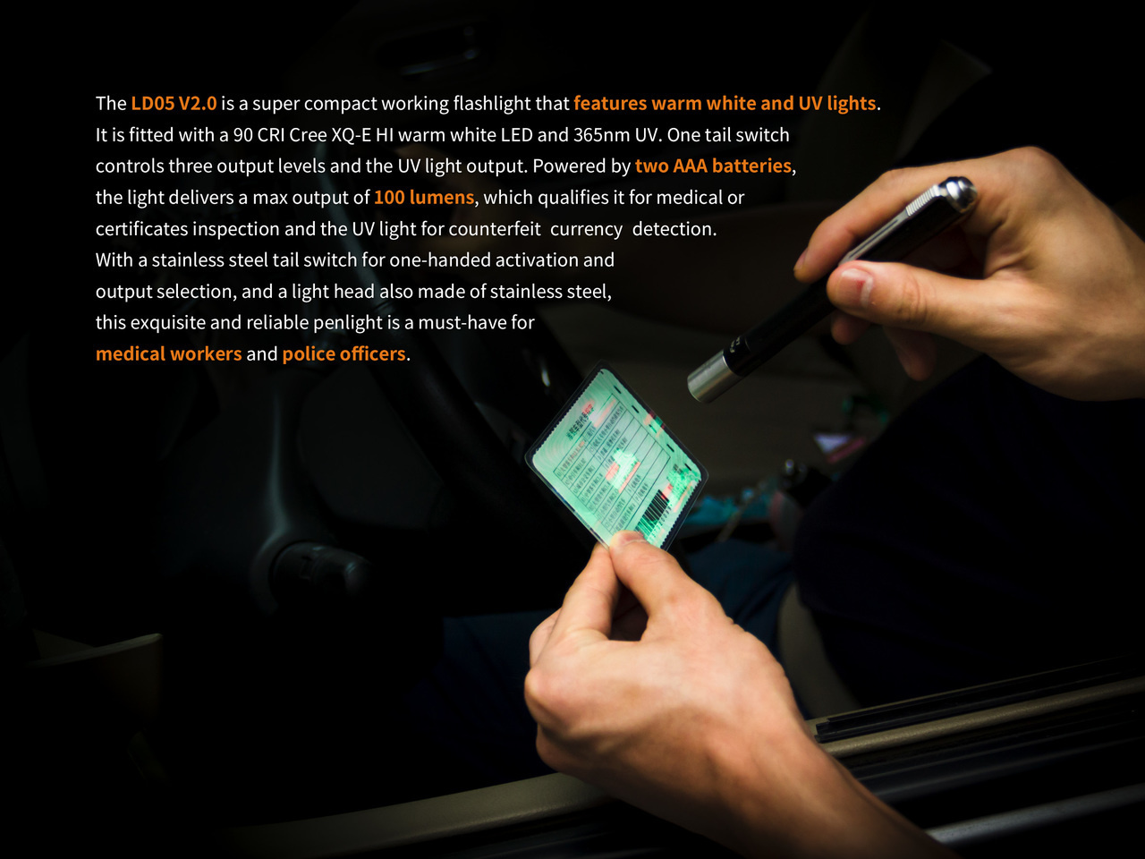 Fenix Fenix LD05 V2.0 EDC LED Flashlight with UV lighting