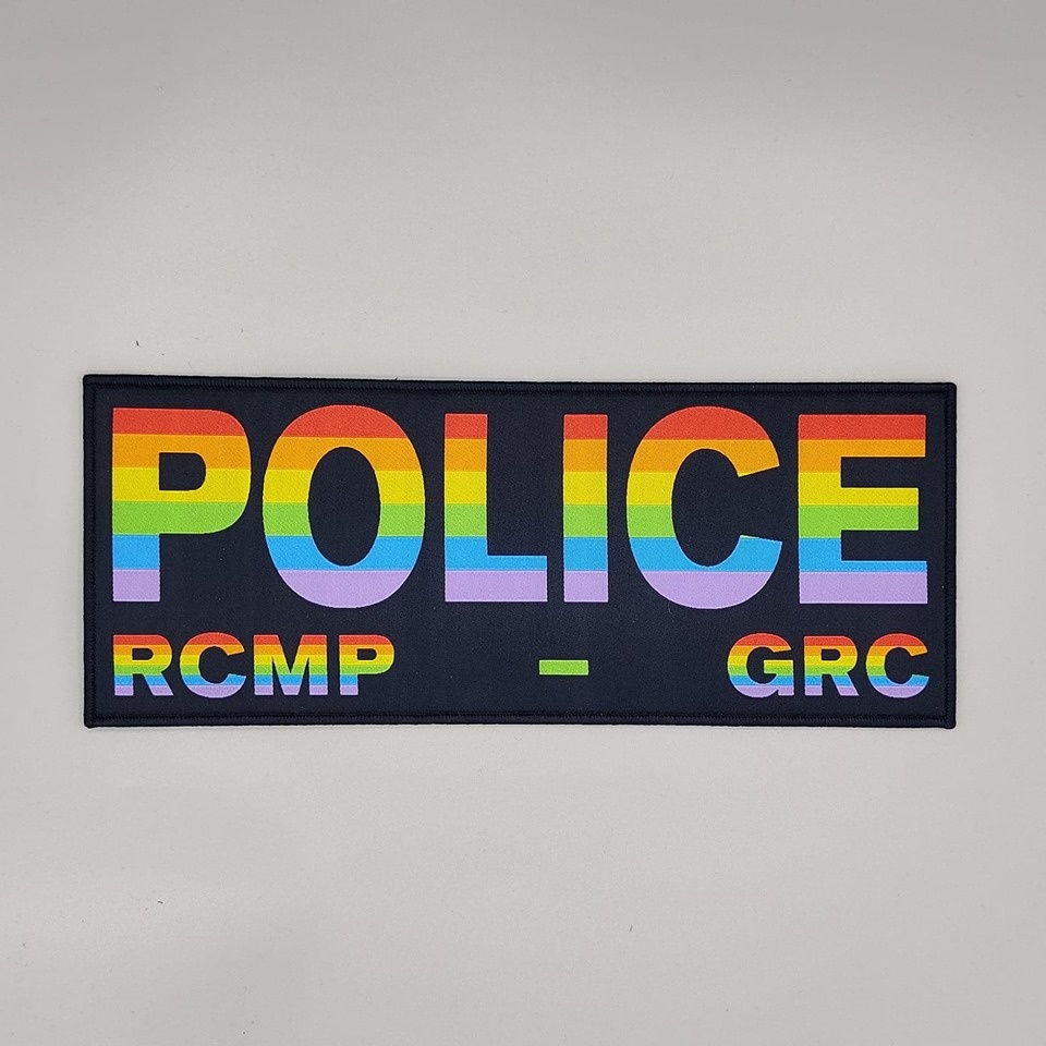 """DS Tactical Police RCMP GRC Patch 4""""x10"""" PRIDE on Navy"""