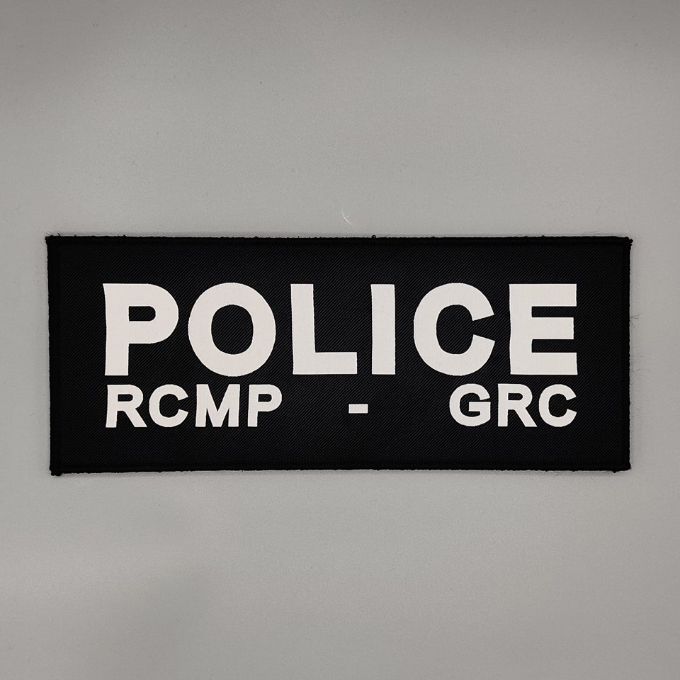 """DS Tactical Police RCMP GRC Patch 4""""x10"""" White on Black"""
