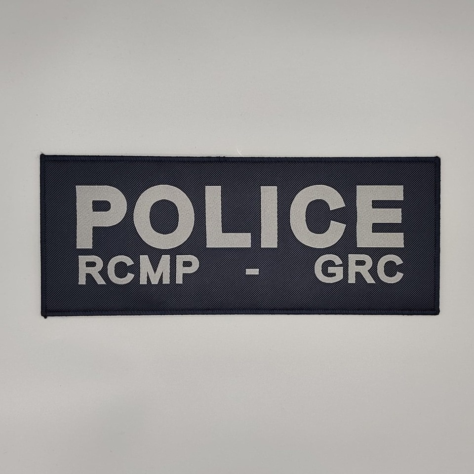 "DS Tactical Police RCMP GRC Patch 4""x10"" Grey on Navy"