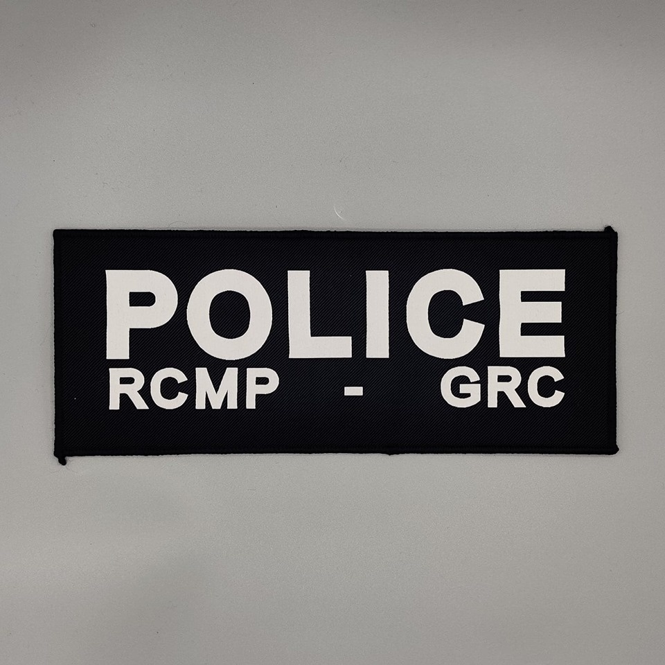 """DS Tactical Police RCMP GRC Patch 4""""x10"""" White on Navy"""