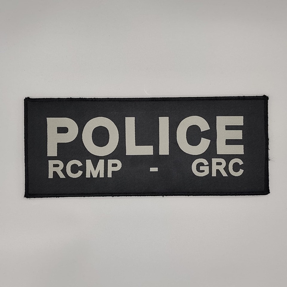 "DS Tactical Police RCMP GRC Patch 4""x10"" Grey on Black"