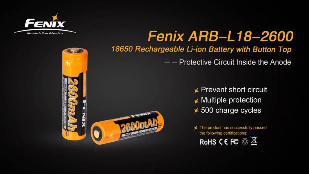 Fenix Fenix High-Capacity 18650 Battery 2600mAh