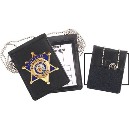 Strong Leather Recessed Velcro Badge and ID Holder with Chain