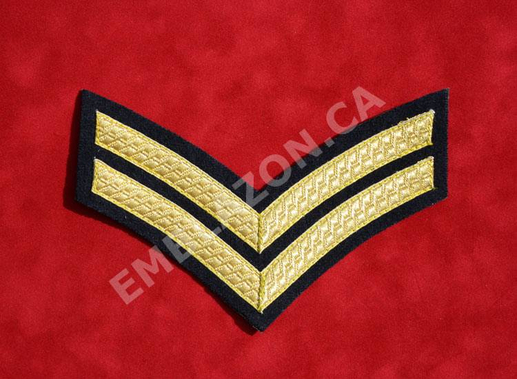 Emblazon Corporal Rank On Blue- Regimental Size
