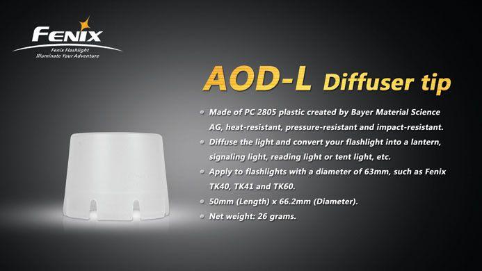 Fenix Fenix AOD-L diffuser tip- white, Fits models TK41, TK60