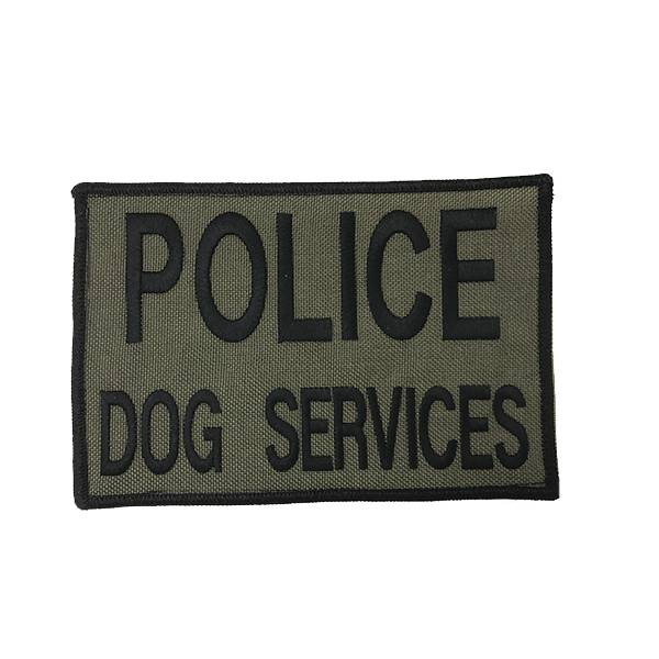 """DS Tactical Police Dog Services Patch 4""""x6"""" Black on Ranger Green"""