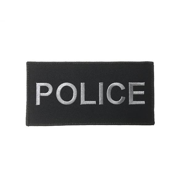 """DS Tactical Police Patch 3""""x6"""" Grey on Black"""