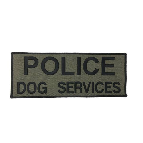 "DS Tactical Police Dog Services Patch 4""x10"" Black on Ranger Green"