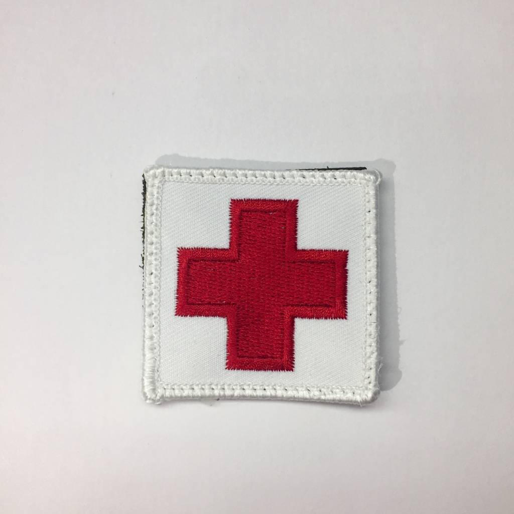 "Custom Medic Square Patch 2""x2"" Red on White"