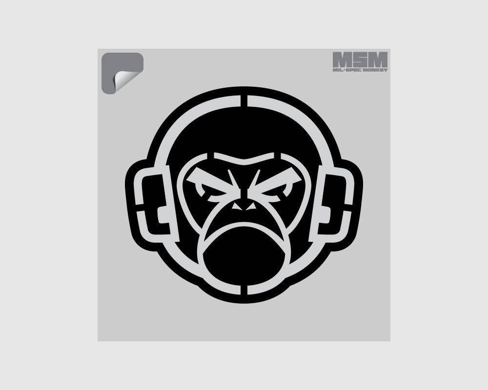 Milspec Monkey MSM Logo Stencil Decal, Grey on Black