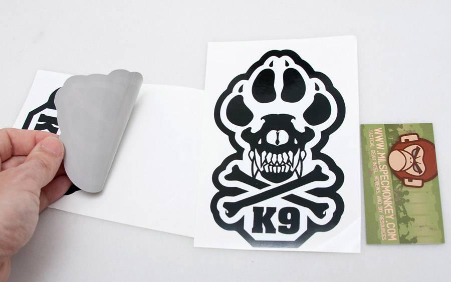 Milspec Monkey MSM K9 Decal, Grey on Black