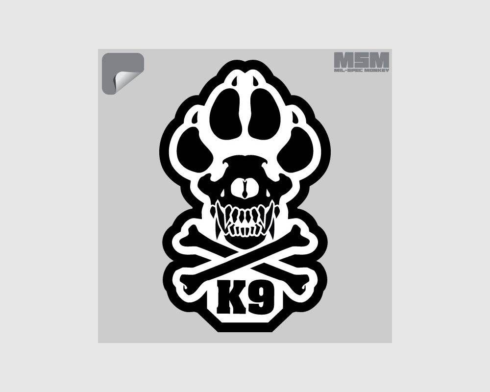 Milspec Monkey MSM K9 Decal, Black on White