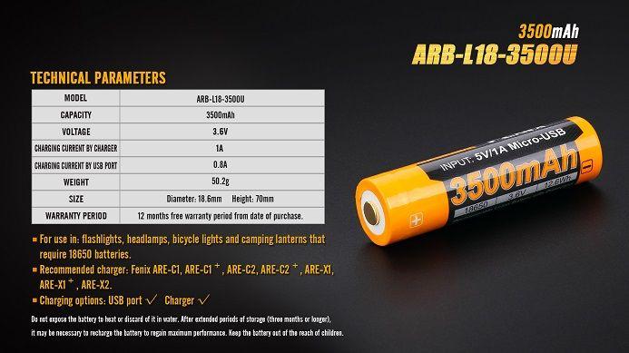 Fenix Fenix ARB-L18-3500U 3500mAH 18650 Battery