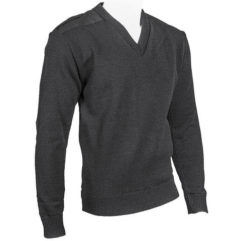 Cobmex Cobmex V Neck Military Sweater with Button Epaulettes