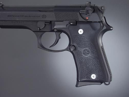Hogue Beretta 92 Compact Auto Rubber grip Panels Black