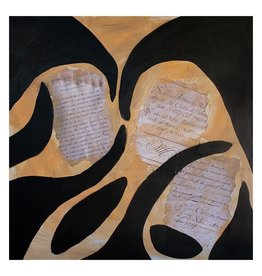 """Steve McKenzie Art La Grotta (Cave) by Steve McKenzie mixed media acrylic and collage on canvas including fragememnts of reproduced documents from 1623 size   27.5"""" x 27.5"""""""