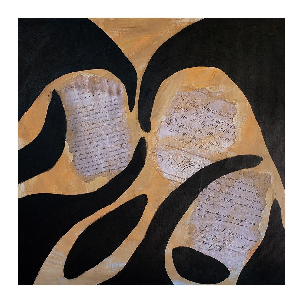 "Steve McKenzie Art La Grotta (Cave) by Steve McKenzie mixed media acrylic and collage on canvas including fragememnts of reproduced documents from 1623 size   27.5"" x 27.5"""