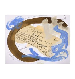 """Steve McKenzie Art Sette (Seven) by Steve McKenzie mixed media acrylic, walnut ink and antique accounting journal from 1947 on 100% rag watercolor paper 12"""" x 9"""""""