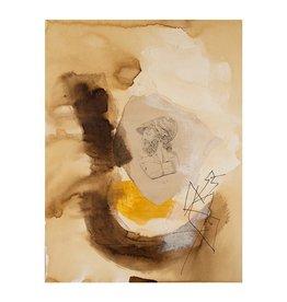 "Steve McKenzie Art Soldato Romano II (Roman Soldier II)  by Steve McKenzie mixed media acrylic, walnut ink and antique bookplate on 100% rag watercolor paper 9"" x 12"""