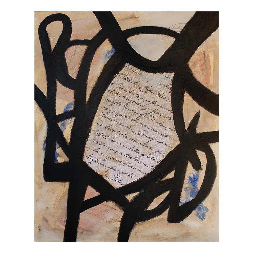 "Steve McKenzie Art Lunigiana by Steve McKenzie mixed media on canvas acrylic, graphite and collage on canvas collage is digital image of documents on the history of Luna written in 1623 size 31.5"" x 39.25"""