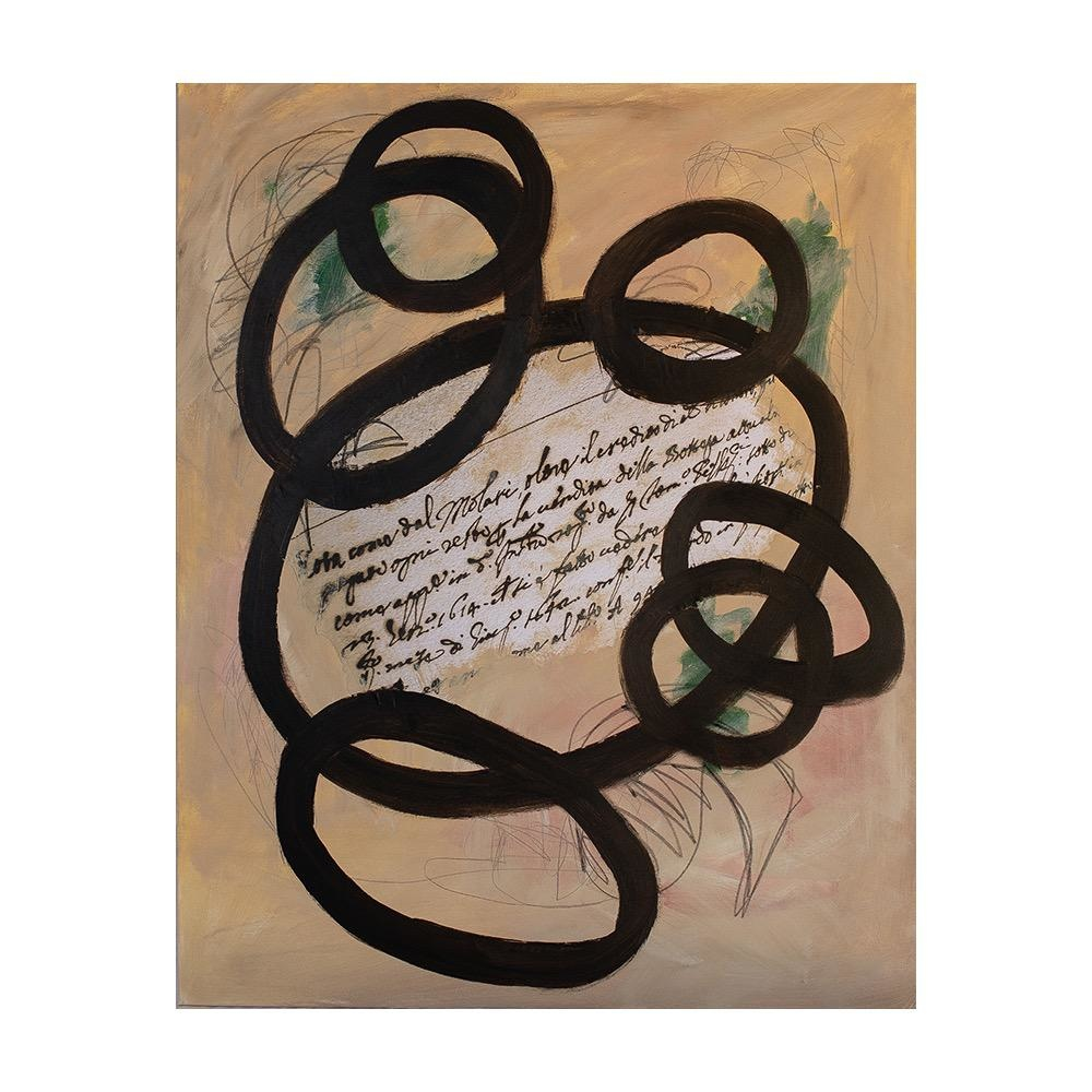 "Steve McKenzie Art Note dell'Avvocato (Lawyers Notes) by Steve McKenzie mixed media on canvas acrylic, graphite and collage on canvas collage is digital image of document from an attorney's notebook written in 1652 size 31.5"" x 39.25"""