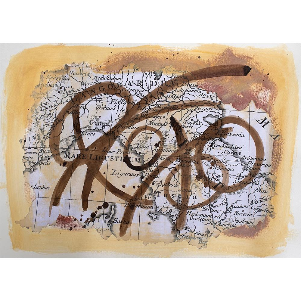 """Steve McKenzie Art Italia by Steve McKenzie mixed media on paper acrylic, replica of map of Italy from an atlas from the 1700's, Walnut ink on 100% cotton rag paper 19.5"""" x 28"""""""