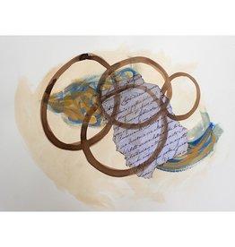 "Steve McKenzie Art Luni by Steve McKenzie mixed media on paper acrylic, replica of handwritten story of the Lunigiana written in 1795, Walnut ink on 100% cotton rag paper 19.5"" x 28"""