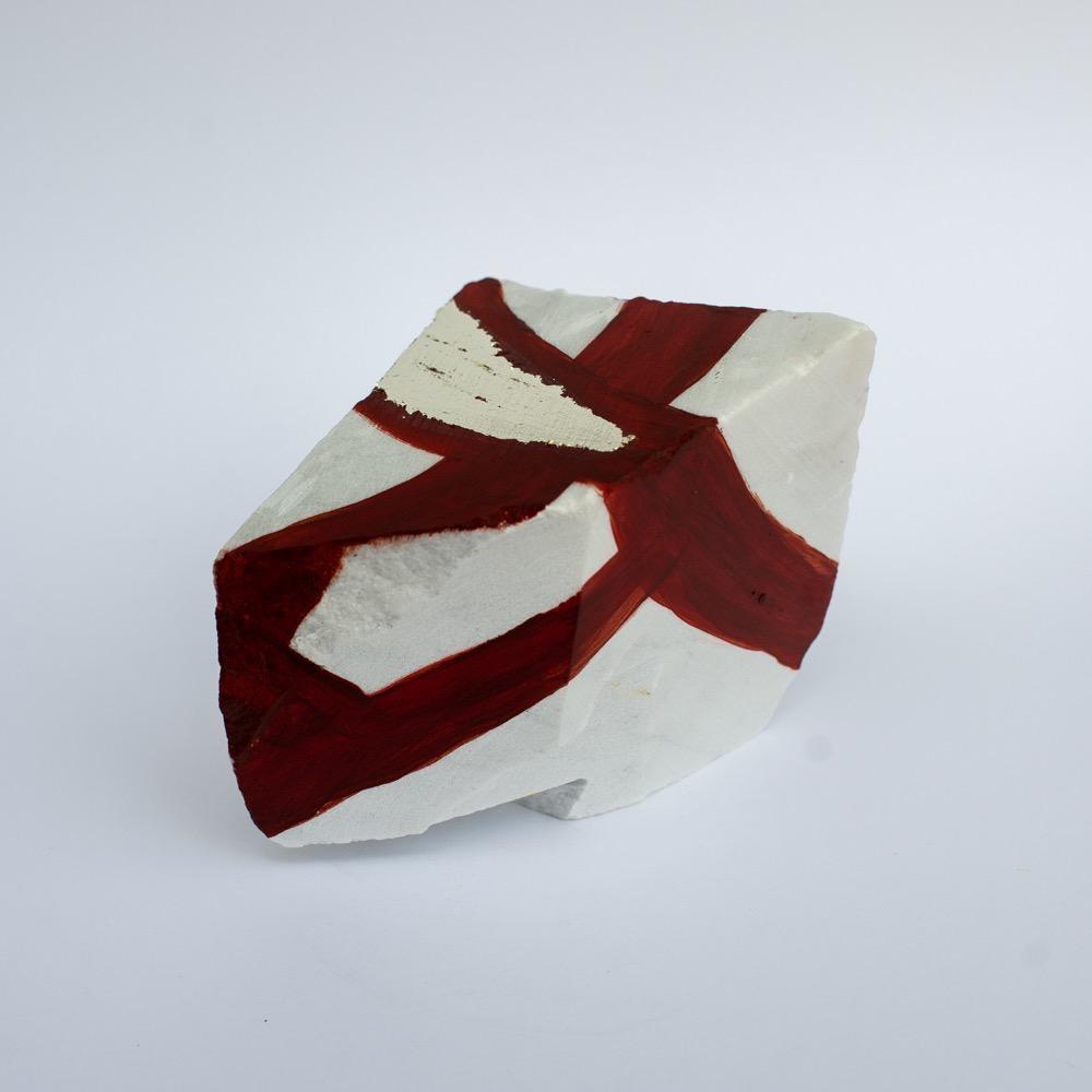 "Steve McKenzie Art Carrara by Steve McKenzie Acrylic and 23K gold leaf on Carrara Marble approximately 5"" tall x 4"" W x 5"" L"