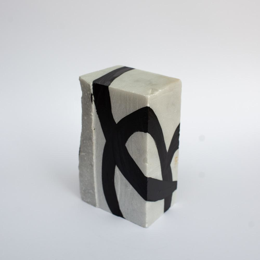 "Steve McKenzie Art Casola by Steve McKenzie Ink on Carrara Marble approximately 7"" tall x 4"" W x 5"" L"