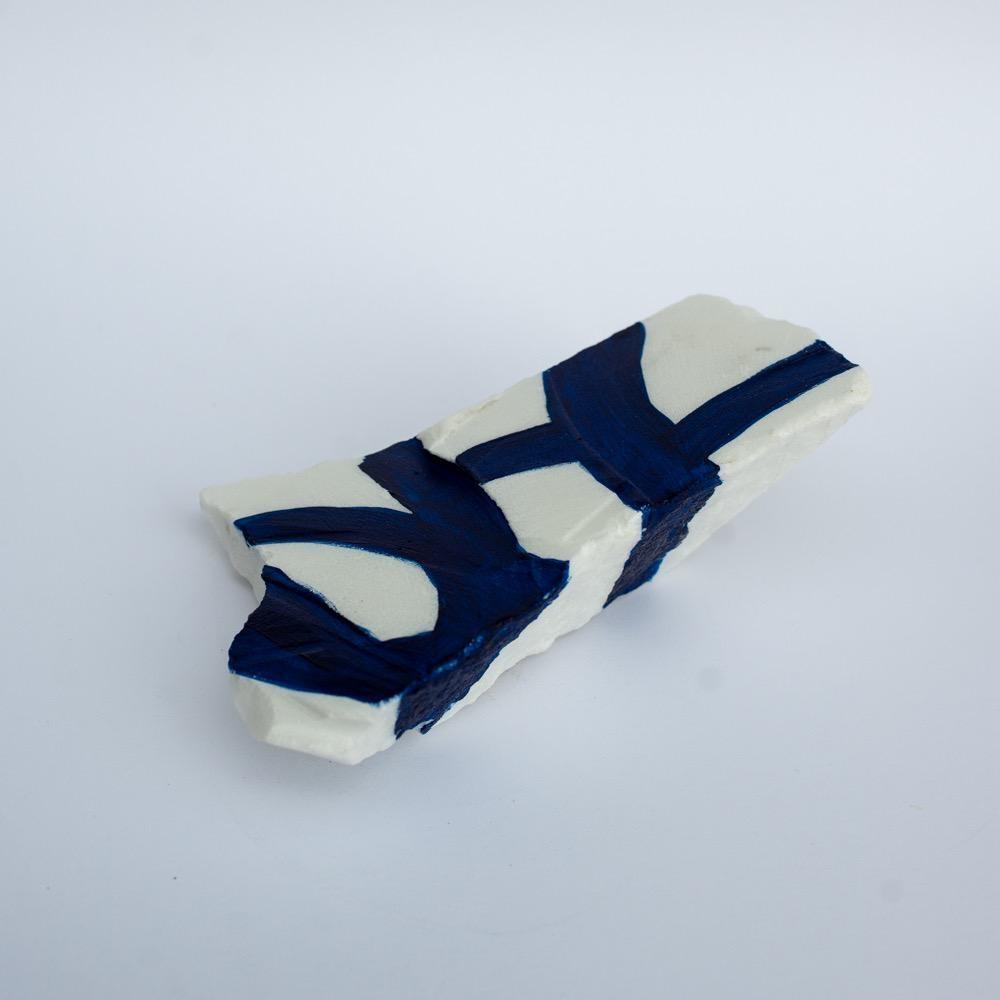 "Steve McKenzie Art Equi Termi by Steve McKenzie Indigo Blue Acrylic on Carrara Marble approximately 7"" tall x 4"" W x 5"" L"