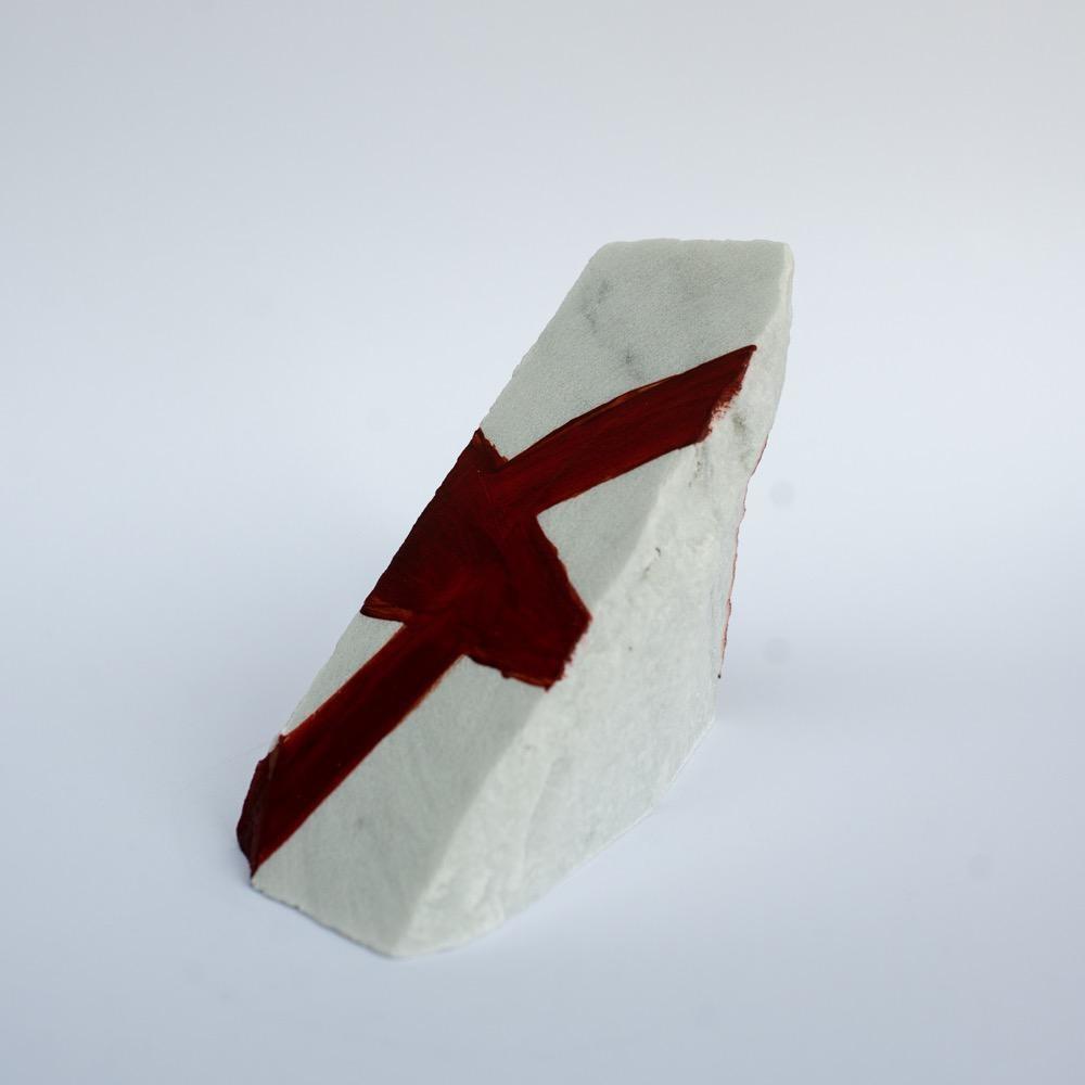 "Steve McKenzie Art Massa by Steve McKenzie Acrylic on Carrara Marble approximately 6"" tall x 4"" W x 5"" L"