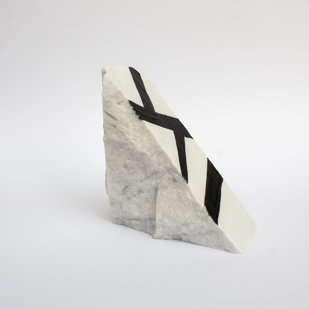"Steve McKenzie Art Monzone by Steve McKenzie Ink on Carrara Marble approximately 7"" tall x 4"" W x 5"" L"