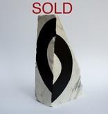 """Steve McKenzie Art Sarzana by Steve McKenzie Ink on Calacutta Marble approximately 9"""" tall x 6"""" W x 5"""" L"""